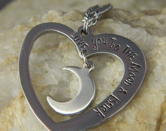 Love You to the Moon and Back Stainless Steel Necklace
