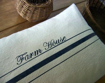 free shipping /farmhouse pillow / navy / grain sack / grainsack / personalized / farm house / canvas / vintage style / rustic / navy stripe