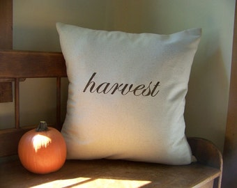 harvest pillow cover / thanksgiving pillow / fall home decor / autumn / espresso / fall pillow / thankful /