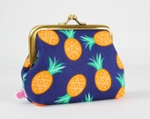Metal frame change purse - Pineapples in navy - Deep dad / Bay breeze / Jack and Lulu / Tropical / mint green orange pineapples hot pink