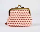Metal frame coin purse - Tiny hearts - Deep mum / Japanese fabric / Minimalist cute red hearts / Love / Kisslock purse / boho