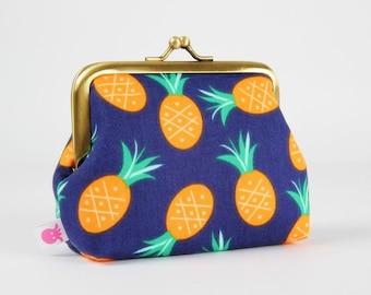 Metal frame change purse - Pineapples in navy - Deep dad / Bay breeze / Jack and Lulu / Tropical / mint green orange pineapples hot pink