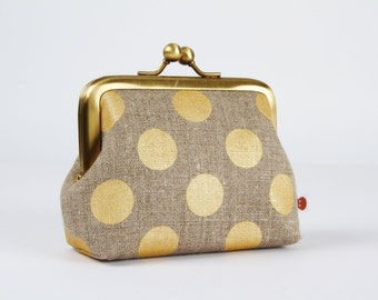 Metal frame purse with two sections - Golden dots on taupe linen - Siamese dad / Big metallic gold dots / brown grey linen / minimalist