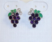 Silver Tone Purple Rhinestone Grape Post Earrings