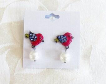 Cute Red & Yellow Enamel Bird Faux Pearl Post Earrings