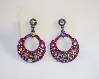 Gorgeous AB Fuchsia Crystal Post Earrings