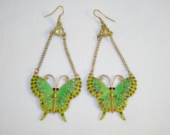 Gorgeous Green Butterfly Dangle Long Earrings