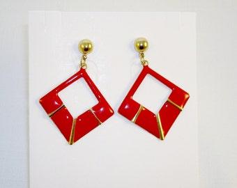 Goldtone Red Enamel Dangle Post Earrings