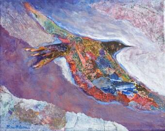 Imaginary Bird, Original Collage Art, Acrylic Painting, Contemporary Design, Flying Bird, Modern Wall Art, Modern Collage, Bird Art, 8 x 10