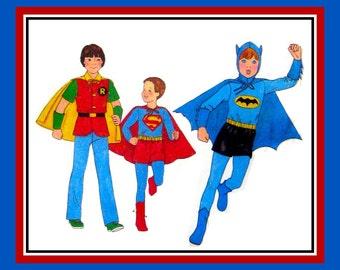 Vintage 1978-SUPERMAN-BATMAN-ROBIN-Kids Sewing Pattern-Super Hero's Emblems-Top-Shorts-Cape-Hood-Size 7-8-Rare