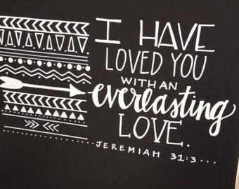 Jeremiah 31:3 Canvas--16x20, Chalkboard Style