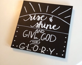 Rise and Shine Canvas--10x10, Chalkboard Style