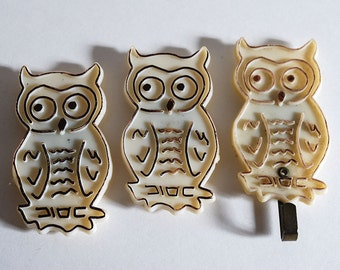 Vintage Owl Magnets Birds Plastic Hook Halloween Fall Retro Refrigerator Decor Kitchen Office Autumn