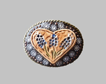 Western Texas Blue Bonnet Heart Belt Buckle with Swarovski Crystal Rhinestones