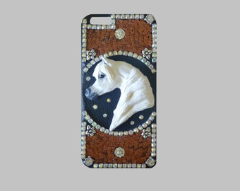 Mosaic Iphone 6 Plus Cell Phone Case with Arabian Horse and Swarovski Crystals