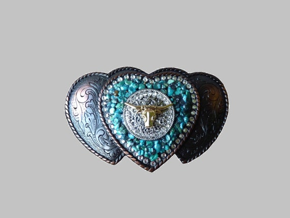 Western Triple Three Heart Shape Western Womens Belt Buckle With Longhorn Swarovski Crystals and Genuine Turquoise