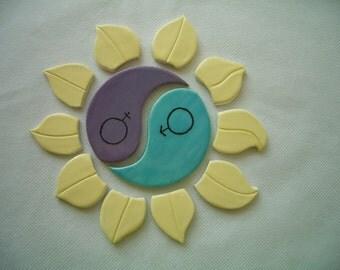 12T - YIN-YANG Lotus Circle Mosaic Tiles - Ceramic Tile Set