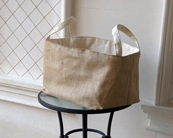 Rustic Burlap Basket- 20x15x10 Container- Organizer- Storage Bin- Fully Lined- Burlap and Canvas- Fabric Basket
