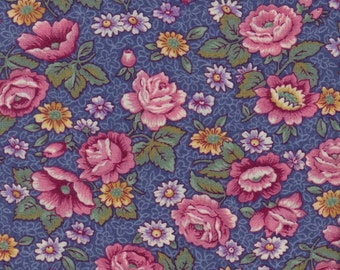 Cotton Fabric, vintage, VIP Print, 1 yard, quilting, craft, sewing, pink flowers on blue background
