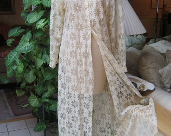 Vintage retro antiqued beige crochet look long robe, daisy look openwork lace beige maxi robe, cream beige lace mesh robe to redesign size M