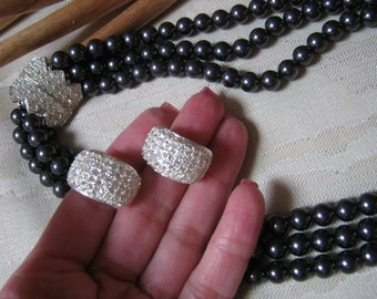 Vintage grey pearls nesting necklace pave crystal clip half hoops, 3 strand grey faux pearl necklace, Elizabeth Taylor collectibles for Avon
