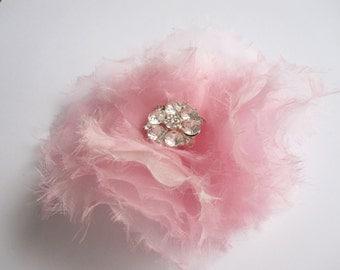 pink hair fascinator clip silk  flower