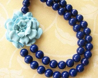 Bib Necklace Bridesmaid Jewelry Flower Necklace Statement Necklace Navy Blue Jewelry Beaded Multi Strand