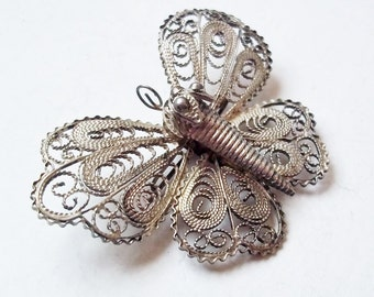 Vintage Sterling Silver Filigree Butterfly Brooch - Very Fine Filigree Work - Flying Insect Pin - Great Aged Patina - Handmade Pin