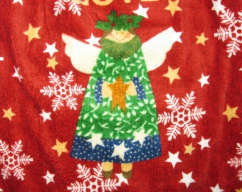 Christmas Angel double hanging kitchen crocheted top dish towel