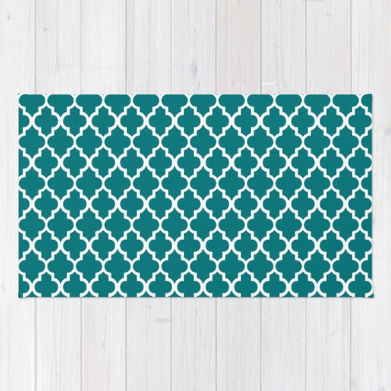 Floor Rug Teal Decor Geometric Quatrefoil Teal Rug