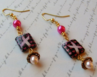 Pink Ribbon Earrings-black with hearts and pearls, 2 1/2 inches or 6.5 cm
