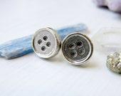 Sterling Silver Womens Button Earrings