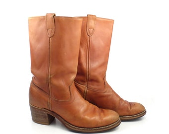 Campus Leather Boots Vintage 1970s Carmel Whiskey brown Cowboy Men's size 9
