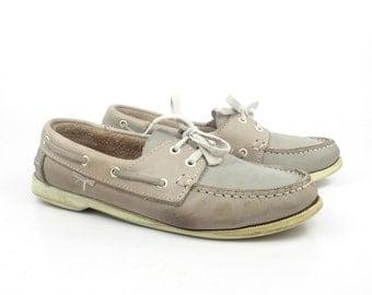 Boat Shoes Vintage 1980s Quakeside Gray Leather men's size 7