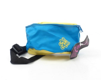 Fanny Pack Vintage 1980s Nylon Vegan Neon Waistpack Hip Blue Yellow Bum Bag