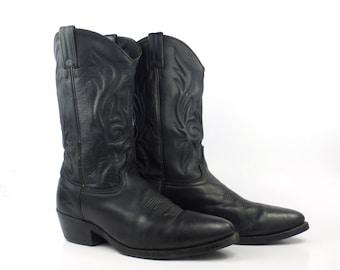 Men's Cowboy Boots Vintage 1980s Black Leather Western size 10 D
