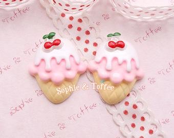 Pink Vanilla Ice Cream Cabochon Fake Sweets Deco Decoden Kawaii Resin Cabochon Set of 5pcs