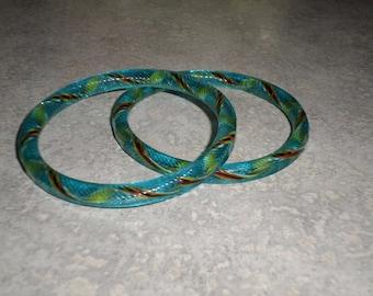 two Venetian Murano swirl twisted yellow, red, white, black ribbon in cornflower blue art glass BANGLE BRACELET