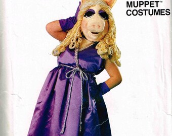 Child Miss Piggy Muppet Dress Pig Head Halloween Costume Vogue 8475 Sewing Pattern Girls Boys Children Size 2 4 6 8 10 12 S M L