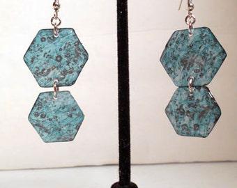 Blue marbled honeycomb earrings