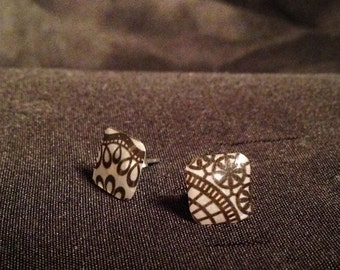 black and white post earrings