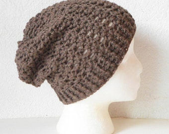 Taupe Brown Slouchy Skullcap Beanie Hat, ready to ship.