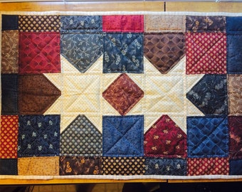 Primitive Star Quilted Table Runner