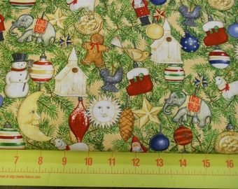 Christmas Fabric - 50% )FF! Holiday Home Ornament Toss on Cream by South Sea Imports - Yardage