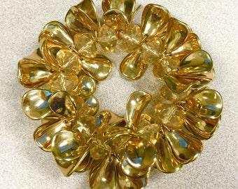 1980s Designer Gold Plastic Coated Petal Bracelet