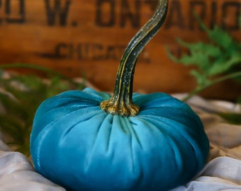 Scented Velvet Pumpkin, TEAL GREEN