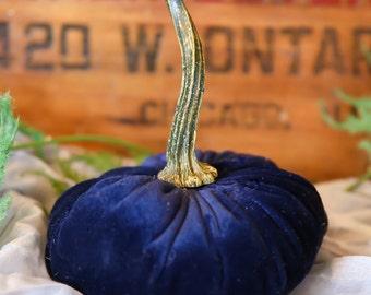 Scented Velvet Pumpkin, NAVY BLUE