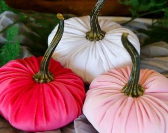 Scented Velvet Pumpkins, SET of 3:  Hot Fashion Pink, Pastel Pink, White