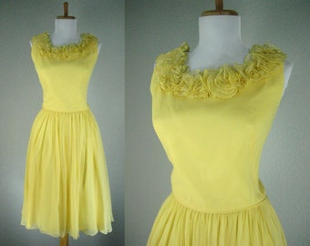 Vintage 1950s Dress Yellow Chiffon Floral Ruffles Cocktail Party Dance Dress