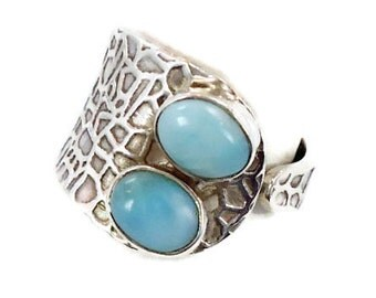 Blue Larimar Ring Sterling Silver - Vintage Unique Style - Statement Ring - Adjustable Size 8 - InVintageHeaven